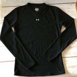 girl's UNDER ARMOUR black long sleeve V-NECK SHIRT